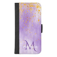 Chic ultra violet with faux gold confetti monogram iPhone 8/7 plus wallet case