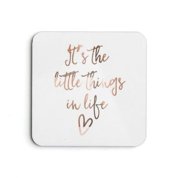 It's the little things in life Rose Gold Coaster Set