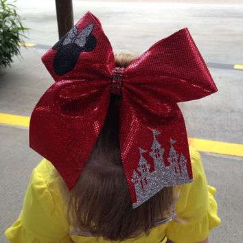 Large Minnie Mouse &  Magic Castle   Cheer Bow