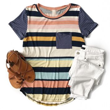 Navy, Mint and Coral Stripe Top