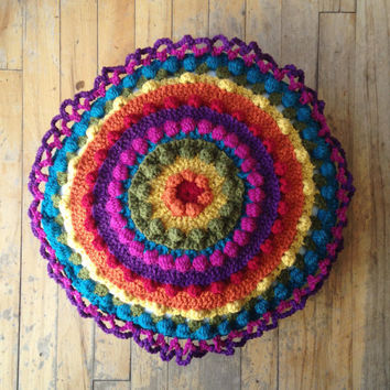 Brightly Colored Rainbow Double Sided Hand Crochet Round Decorative Throw Pillow