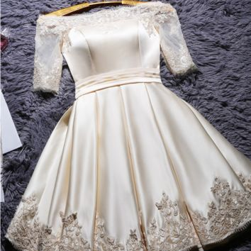 2017 new spring/summer red bridal toasting dress winter one-character shoulder short trim wedding evening dress