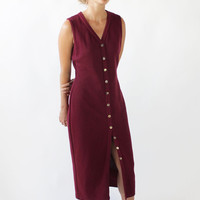 Vintage 90s Ribbed Knit Button Front Normcore Midi Dress | M