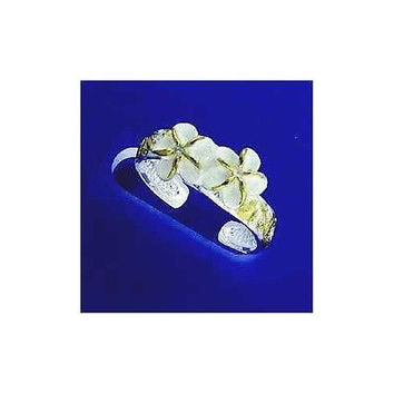 SILVER 2 TONE HAWAIIAN 2 PLUMERIA SCROLL TOE RING CZ