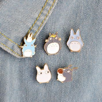 Trendy 5 pcs/lot cartoon mini totoro metal brooch button pins denim jacket pin jewelry decoration badge for clothes lapel pins AT_94_13