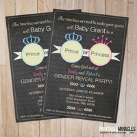 Printable gender reveal invitations, Baby shower invites, Pink blue chalkboard invitation, Prince or princess party invite with crown
