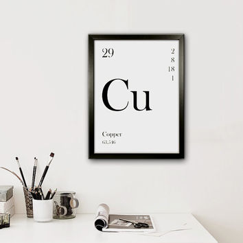 Copper Periodic symbol, Typographic Art, Printable, Scandinavian Style, Home Decor Print, Office Art, Instant Download Poster, Modern Art