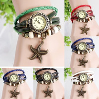 Girl Fashion Leather Weave Watch Bracelet Quartz Movement Wrist Watch starfish = 1841341828