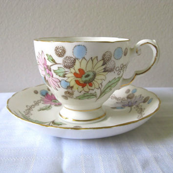 Vintage Cup and Saucer Plant Tuscan China Floral by pillowsophi