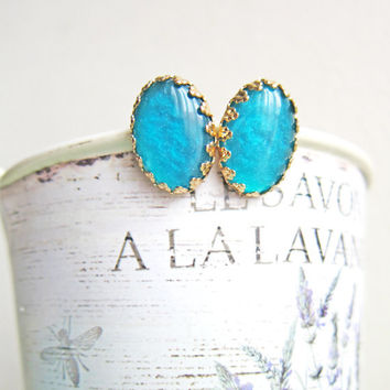 Teal Earrings Studs Gold Plated Post Bridesmaid Gift Bridal Vintage Style Wedding Victorian Dark Aqua Sea Green The Great Gatsby