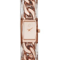 Women's KARL LAGERFELD 'Marais Kuff' Encased Chain Bangle Watch, 15mm x 19mm - Rose Gold