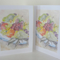 Fall Autumn Harvest Thanksgiving Cards Fruits Food All Occasion Card Set of 6 with envelopes