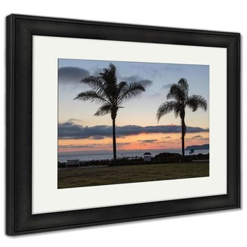 Framed Print, Palm Tree Silhouette At Sunset Shot In California At Coronado Island On A