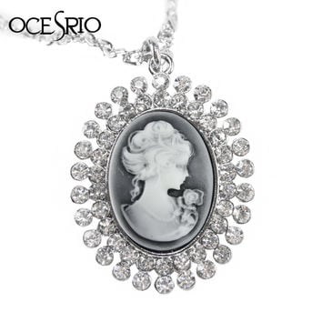 Brand New Vintage Cameo Long Pendant Necklace for Women Silver Chain Big Pendant Necklace with Crystals Fashion Jewelry nke-f46