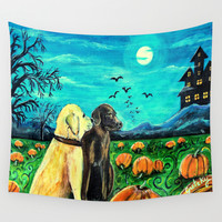 Dogs in Pumpkin Patch Wall Tapestry by Gretzky | Society6