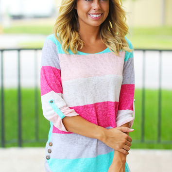 Coral and Mint 3/4 Sleeve Top with Buttons