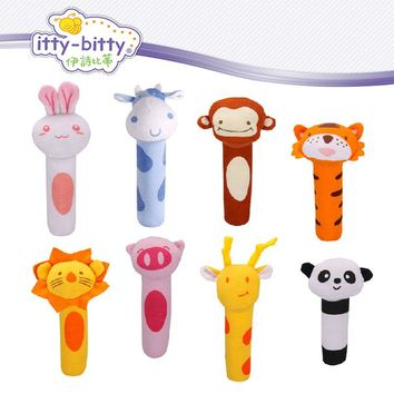 hot! Itty Bitty 13cm Baby Rattle Stuffed Plush Doll Toy BIBI Bar Stick pig Animal Squeaker Toys Infant Hand Puppet Enlightenment