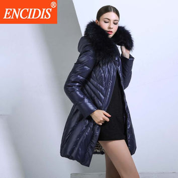 Europe American Style Winter Jacket Women Luxury Down Coat 2016  New Large Fur Collar Women jacket Slim Winter Coats Parka M374