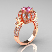 Classic Yeva 14K Rose Gold 1.0 CT Light Pink Sapphire Diamond Crown Solitaire Bridal Ring Y303C-14KRGDLPS