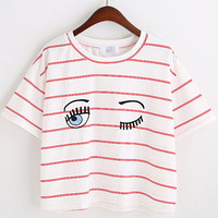 Red White Eyes Print Striped Crop T-Shirt -SheIn(Sheinside)