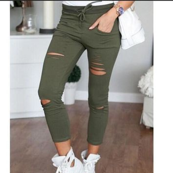 Women Ripped Skinny Denim Jeans Cut High Waisted Jegging Trousers Skinny 2017 High Waist Stretch Ripped Slim Pencil Pants 7644