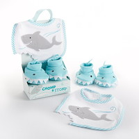 "Opentip.com: Baby Aspen BA15030BL ""Chomp & Stomp"" Shark Bib and Booties Gift Set"