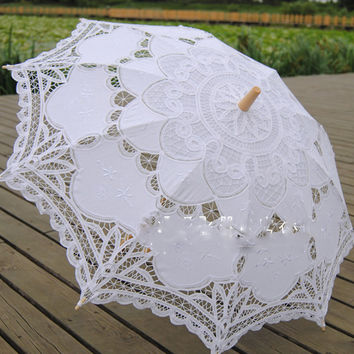2017 Fashion Lace Umbrella Cotton Embroidery Bride Umbrella White Battenburg Lace Parasol Umbrella Wedding Umbrella Decorations