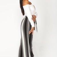 Diana Stripe Pants - Black/White