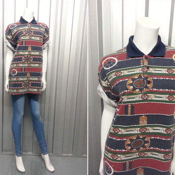 90s Nautical Polo Shirt Oversized Shirt Soft Grunge Hipster Clothing Cotton Aztec Navajo Geometric Southwestern Indian Indie Retro
