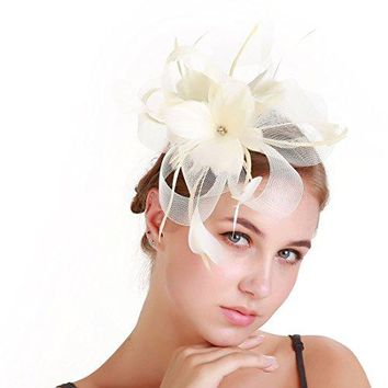 FeiYu Crafts Feather Fascinators Hat Sinamay Headware Bridal 1920s Headpiece For Women and Girls