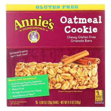 Annie's Homegrown Chewy Gluten Free Granola Bars Oatmeal Cookie - 5 Bars