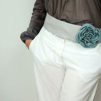 Light Grey Wide LEATHER SASH BELT with Light Blue Flower/Grey Leather Strap Belt with Handmade Rose/Grey Waist or Hip Belt - BeltEL2