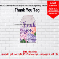 Instant Download, #915 Hydrangea gift tag, thank you, girl, floral party, Thank you TAG, 3.5x2inch printable, non-editable NOT CUSTOMIZABLE