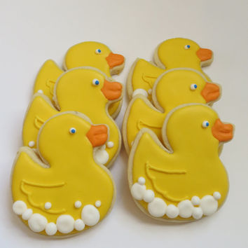 Rubber ducky decorated cookie favors,1 dozen