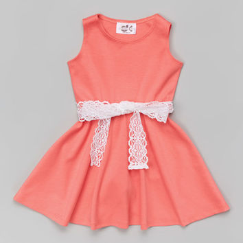 Dreaming Kids Salmon Belted Skater Dress - Infant, Toddler & Girls | zulily