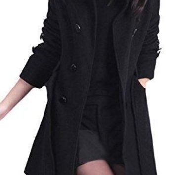 Pandapang Women's Double Breasted Wool Blend Belt Trench Coat Jackets