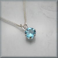Swiss Blue Topaz Necklace Sterling Silver Gemstone Jewelry December Birthstone (SN796)