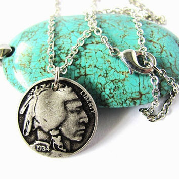 Indian Head Nickel Necklace Nickle Charm Button Pendant Coin Jewelry by HendysHome
