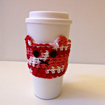 Valentine's Day Kitty Cozy, Design 2! Fits Travel Coffee Mugs, Tervis Tumblers, and More! Limited Edition!
