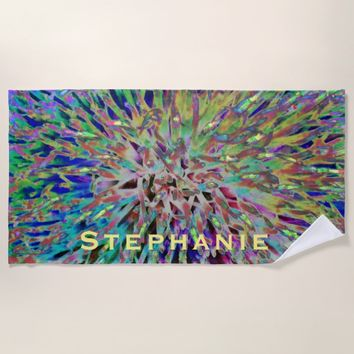 Wild Colors Abstract Beach Towel with Yellow Name
