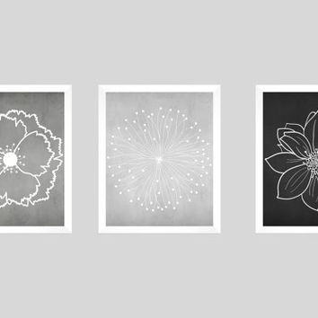 Set of 3 White Flower Blossoms on Grays and Black Chalk Prints CUSTOM COLORS Modern Art Prints for Nursery Decor Colors Modern prints  8x10