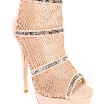 Nude Cute Fall Peep Toe Rhinestone Accent Booties Faux Suede