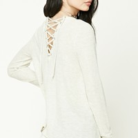 Brushed Knit Lace-Back Top