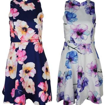 Fashion collar sleeveless print dress