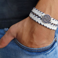 Men's Bracelet - White Fabric Bracelet With Silver Plated Boat Coin - Men's Jewelry - Nautical Jewelry - Coin Jewelry