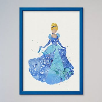 Cinderella Poster FRAMED Princess Watercolor print Disney Cinderella Watercolor Illustration Kids art Wall art Nursery Giclee Print Fine Art