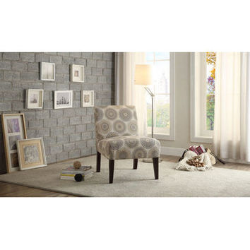 Homelegance Nicolo II Accent Chair In Bold Medallion Print Features A Tonal Grey Color Scheme