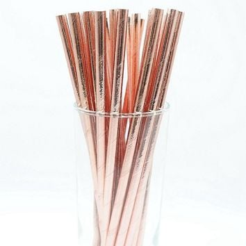 25pcs Foil Gold Rose Gold Silver Paper Straws Wedding Favors Star Drinking Straws Birthday Party Decoration Kids Party Supplies