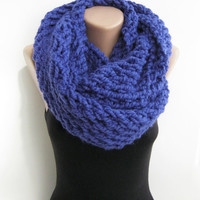 Chunky infinity scarf, electric blue knitted loop scarf