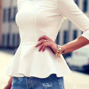 White Collar Half Sleeve Peplum Hem Top